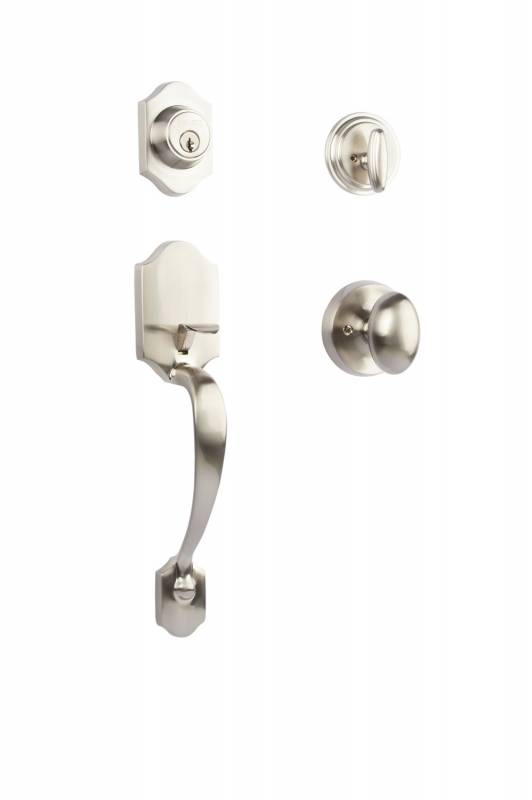 Satin Nickel entry handle with Knob